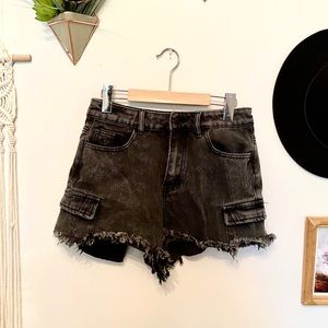 Black distressed high waisted shorties